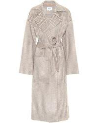 Nanushka - Alamo Dogtooth Wool And Silk-blend Wrap Coat - Lyst