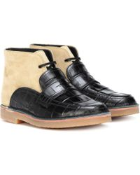 Loewe - Leather And Suede Ankle Boots - Lyst