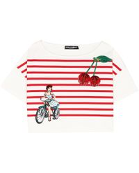 Dolce & Gabbana - Embellished Cotton T-shirt - Lyst