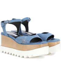 Stella McCartney - Elyse Platform Denim Sandals - Lyst