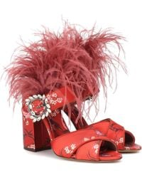 Tabitha Simmons - Reyner Jacquard Sandals With Feathers - Lyst