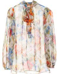 Dolce & Gabbana - Floral-printed Silk Chiffon Blouse - Lyst