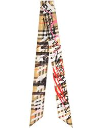 Burberry | Scribble Check Silk Twill Scarf | Lyst