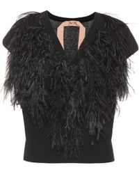 N°21 - Ostrich Feather-trimmed Sweater - Lyst