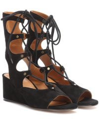 Chloé - Black Foster Lace-up Wedge Sandals - Lyst