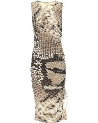 Roberto Cavalli - Snake-printed Silk Midi Dress - Lyst