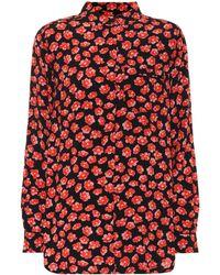Ganni - Floral Crêpe Shirt - Lyst