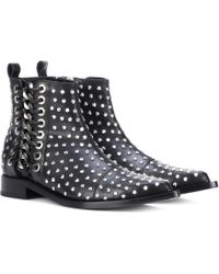 Alexander McQueen - Braided Chain Leather Ankle Boots - Lyst