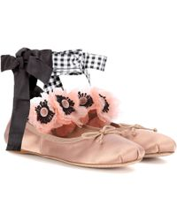 f8c3cbd5c19 On sale Miu Miu - Embellished Satin Ballerinas - Lyst