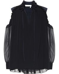 Chloé Silk Cold-shoulder Blouse - Black