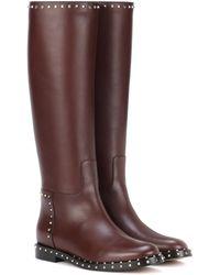 Valentino Rockstud Leather Knee-high Boots