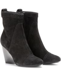 Balenciaga - Suede Brogue Wedge Ankle Boots - Lyst