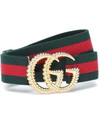 Gucci - Gg Striped Web Belt - Lyst