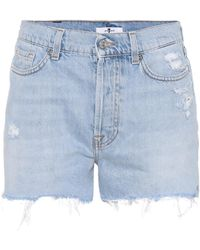7 For All Mankind - High-waisted Denim Shorts - Lyst
