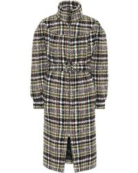 Miu Miu - Checked Wool-blend Coat - Lyst