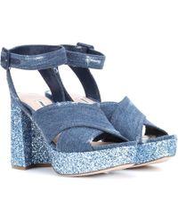 Miu Miu - Denim And Glitter Plateau Sandals - Lyst