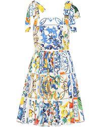 Dolce & Gabbana - Majolica Sleeveless Cotton Dress - Lyst
