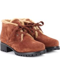 Prada - Fur-trimmed Suede Ankle Boots - Lyst
