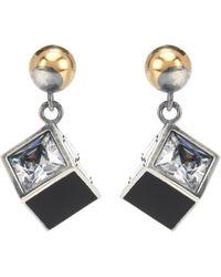 Bottega Veneta - Sterling-silver Cube Drop Earrings - Lyst