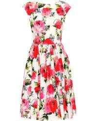 Dolce & Gabbana - Floral-printed Cotton Dress - Lyst