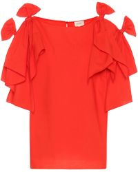 Delpozo - Knotted Cotton Top - Lyst