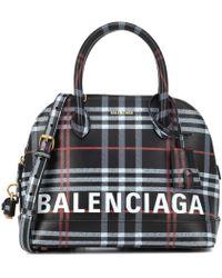 Balenciaga - Ville S Plaid Leather Shoulder Bag - Lyst