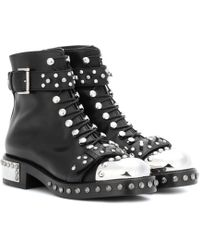 Alexander McQueen - Hobnail Leather Ankle Boots - Lyst