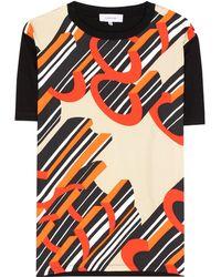 Carven - T-shirt en coton et soie - Lyst