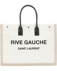 Saint Laurent - Rive Gauche Leather-trimmed Shopper - Lyst