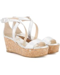 Jimmy Choo - Portia 70 Leather Platform Sandals - Lyst