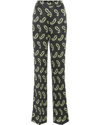 Etro - Printed Silk Trousers - Lyst