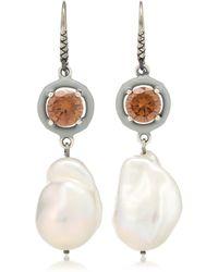 Bottega Veneta - Cubic Zirconia And Pearl Earrings - Lyst