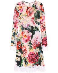 Dolce & Gabbana - Floral Crêpe Dress - Lyst