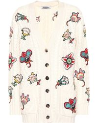 Valentino - Floral-embroidered Wool Cardigan - Lyst