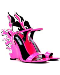 Prada - Flame Patent Leather Wedge Sandals - Lyst