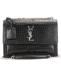 Saint Laurent - Sunset Monogram Medium Embossed Leather Shoulder Bag - Lyst