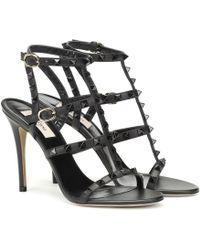 Valentino - Sandales Rockstud en cuir - Noir