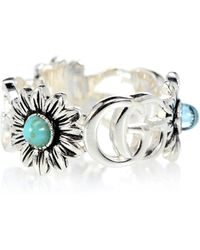 ac1885cf9 Gucci - Double G Flower Sterling Silver Ring With Topaz And Mother Of Pearl  - Lyst