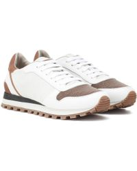 Brunello Cucinelli - Colorblocked Leather Sneakers - Lyst