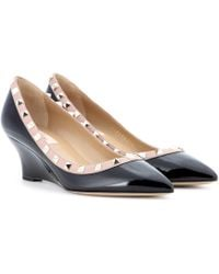 Valentino - Rockstud Patent Leather Wedges - Lyst