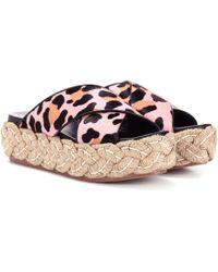 Miu Miu - Calf Hair Platform Sandals - Lyst