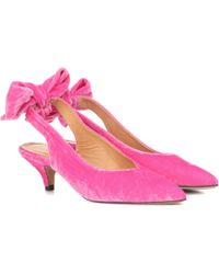 055af4ec051 Lyst - Ganni Kitten Heel Suede Court Shoes in Blue