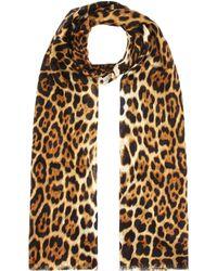 Saint Laurent - Leopard Print Silk Scarf - Lyst