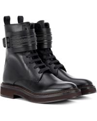 Brunello Cucinelli - Lace-up Leather Boots - Lyst