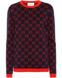 cf0b2621e Gucci Blooms Printed Jersey Sweater in Red - Lyst