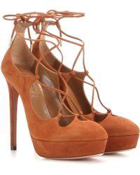 Aquazzura - Dancer Plateau 130 Suede Court Shoes - Lyst