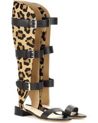 Francesco Russo | Leather And Printed Calf Hair Gladiator Sandals | Lyst