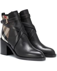 Burberry - House Check And Leather Ankle Boots - Lyst