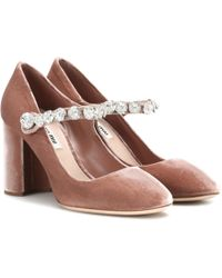 Miu Miu - Velvet Mary Jane Court Shoes - Lyst