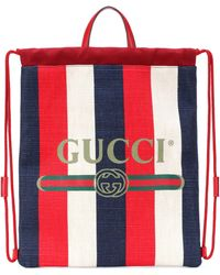 Gucci - Striped Drawstring Backpack - Lyst